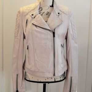 NWT Levi's White Distressed Leather Jacket Sz L